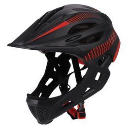 radhelm rot weiß blau Rabatt LED Kinder Off-Road Full Face Mountainbike Helm Balance Sport Sicherheit Kinder Helm Helme Downhill Roller BMX 42-52CM