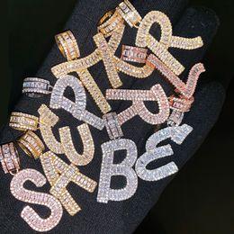 ciondoli iniziali Sconti A-Z Baguette Iniziale Collana con ciondolo a forma di lettera con catena a corda da 24 pollici, bracciale in oro argento con zirconi, uomini e donne