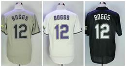 2019 уэйд боггс джерси 2019 Новый # 12 Wade Boggs Jersey Devil Ray VINTAGE Трикотажные изделия для бейсбола Пуловер Mesh BP Черный Белый Серый Джерси Высшее качество! скидка уэйд боггс джерси