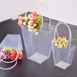 trapezoid box Promo Codes - 2019 new sale gift Flower packing box transparent trapezoid flower carrier bag rose plastic PVC bouquet packing succulent plant