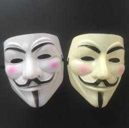 Vestido blanco para hombres online-Máscara de Vendetta máscara anónima de Guy Fawkes Disfraz de disfraces de Halloween blanco amarillo 2 colores