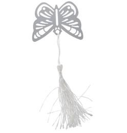 Mariposas para baby shower online-Mariposa de plata metálica Marcadores Marcadores Borlas blancas de la boda del baby shower decoración del partido favorece regalos regalos envío gratuito