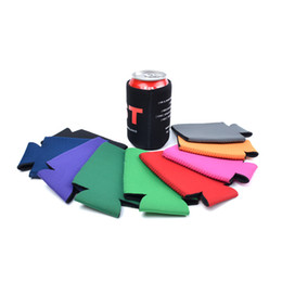 neoprene can Promo Codes - Solid Color Neoprene Foldable Stubby Holders Beer Cooler Bags For Wine Food Cans Cover Kitchen Tools TC190628 500pcs