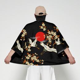 costume di camicetta Sconti Kimono giapponese cardigan uomo Haori Yukata maschio Samurai Costume Abbigliamento Kimono Jacket Mens Kimono Camicetta Camicetta Obi vestiti