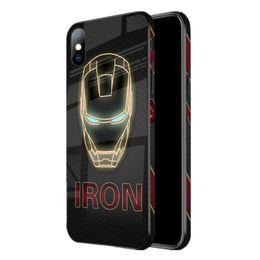 Couverture d'anime pour iphone en Ligne-Iron Man Spiderman Anime Couverture De Cas En Verre Trempé TPU + PC Peint Captain America Étui De Protection Pour iPhone 6 6s 7 8 Plus XS XR X