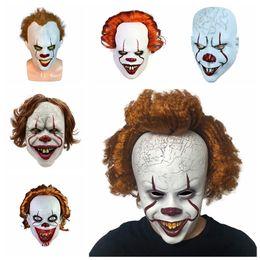 Traje cheio de palhaço on-line-Halloween Joker Máscara Máscaras horror rosto cabeça Dance Party Festival Cosplay Decoração Fontes do partido TTA1905