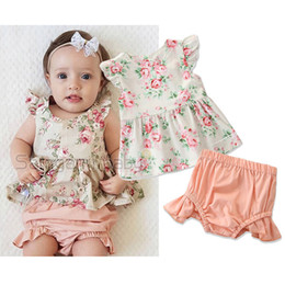 wholesale little girls ruffle shorts Coupons - Newborn Baby Shorts Suit Infant Girl Little Floral Ruffles Flying Sleeve T-Shirt Solid Color Elastic Casual Outfits PP Pants Two-Piece Set