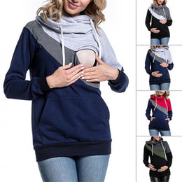 56251d86f201a Maternity Clothes Pregnant Mother Stitching Hoodies Long-Sleeved T-shirt  Maternity Breastfeeding Sweater Clothing dc011
