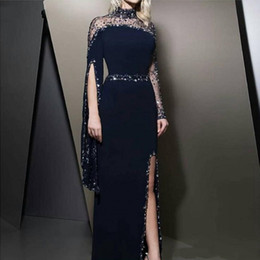 2019 il collo alto ha bordato il vestito kaftan dubai Formale collo alto blu navy Abiti da sera kaftan Dubai perline maniche lunghe abiti da festa Modest robe de soiree Split Prom Dress il collo alto ha bordato il vestito kaftan dubai economici