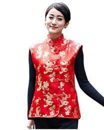 2019 coletes de coleira mandarim História de Xangai Verão Dragão Phoenix Bordado Mandarim Collar Botão Chinês Colete Vermelho desconto coletes de coleira mandarim