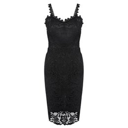 ab637a9884 Summer New Lace Dress Sweet Strappy Zippered Pure Color V Neck Sexy Bodycon  Midi Dress for Ladies Party