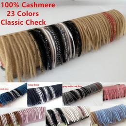 Schal checks online-2019 Unisex Fashion Winter-Designer 100% Kaschmir-Schal Frauen und Männer Marke Luxus Big Size klassischen Karo-Schal Pashmina Infinity-Schal