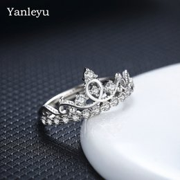 anillos de boda de estilo corona Rebajas Yanleyu encantador estilo simple anillo abierto sólido 925 plata esterlina anillos de la corona para las mujeres de moda joyería de la boda de compromiso PR264