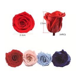 2019 ewiges rosengeschenk 24PCS / Lot Konservierte Getrocknete Blumen Immortal Rose 2-3CM Durchmesser Muttertag Äonenleben Blumen-Geschenk-Kasten-Partei-Hochzeit Dekoration rabatt ewiges rosengeschenk