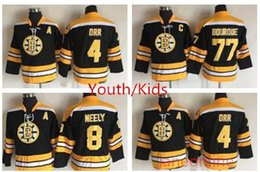 2019 boston bruins retroceso jersey Retro Juvenil Boston Bruins Hockey Jersey 8 Cam Neely 4 Bobby Orr 77 Ray Bourque Niños Niños Vintage CCM Black Jerseys Throwback niños jersey boston bruins retroceso jersey baratos