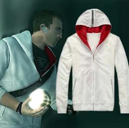 logotipo do credo assassins Desconto 2018 Assassin's Creed 2 Desmond Milhas Traje Cosplay Branco Preto Casaco Com Capuz Da Jaqueta de Manga Com Logotipo Unisex Com Capuz Jaqueta Quente