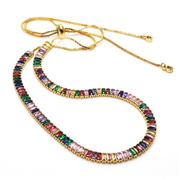 artificial jewelry wedding Promo Codes - Artificial Jewellery Mixed Color Stone necklace rainbow ZC pave zircon Eternal love Adjustable necklace hot selling lady jewelry chain