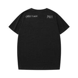 2019 gráfico longo da luva dos homens camisetas Mens 20SS Christian T para T-shirt Homens Paris LOGO Fashion Designer França Marca Rua manga curta de luxo shirts S-XXL