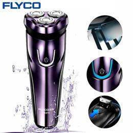 Argentina Flyco máquina de afeitar eléctrica con 3D que flota Jefes lavable máquina de afeitar eléctrica LED de carga de máquina de visualización de afeitar para hombres FS372 T191002 Suministro