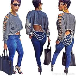 ac1726dcce7e8 Женская стильная одежда Женские отверстия футболка осень Vestidos с  длинными рукавами короткие топы дизайнер футболки