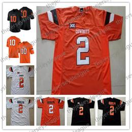 pullover nero di cowboy Sconti Oklahoma State Cowboys # 2 Mason Rudolph 99 Trey Carter 28 James Washington Bianco Arancione Black Stitched NCAA College Football Jersey