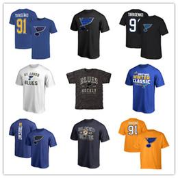 Mens noir pas cher t shirts en Ligne-Nouveau Mens St. Louis Blues T-shirts 91 # vladimir tarasenko Chandails De Hockey Bleu Noir Gris Jaune Fans T-shirts T-shirts De Sport Pas Cher Logos Logos