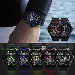 Аналоговые часы с несколькими тревогами онлайн-Многофункциональный Cool S-Shock Спортивные часы LED Аналоговый цифровой водонепроницаемый будильник