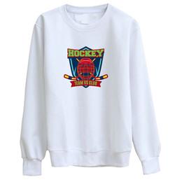 Hoodie do estilo do hóquei on-line-Hillbilly J-1078 Camisola Hockey Club Badge Imprimir Manga Longa Hoodie Manga Estilo Lady Branco Em Torno Do Pescoço Camisa De Algodão