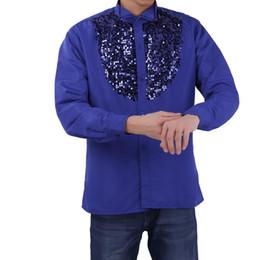 TiaoBug Fashion Men Latin Dance Costumes Shiny Sequined Long Sleeve Choir  Dance Stage Top Shirt Modern Tango Rumba Wear aa23eeb1650b