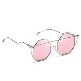 ATB08 Toptan Güneş Gözlüğü Metal Çerçeve W / Sahte Inci Burun Pedi Benzersiz Tarzı üzerinde Sekizgen Jant UV400 BOTERN GÖZLÜK ÜCRETSIZ Kargo nereden