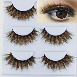 Cílios marrons on-line-NOVO 3D Mink Cor cílios postiços marrom longa transversal Natural cílios falsos Stage Show maquiagem grossas Eye Lashes