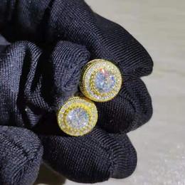 kadın ve erkek Altın veya gümüş küpe takı aksesuarları hip hop için Moda lüks yuvarlak elmas zirkon Küpe nereden