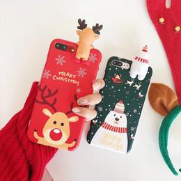 natal iphone santa Desconto Para iphone Xs Max Xr X 8 plus 2018 presente de Natal 3D Elk Bear tampa Do Telefone Lindo Casos de Santa