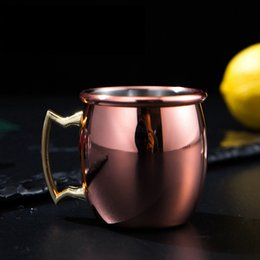 mug shots Promo Codes - 60ml Moscow mini glass shot mugs stainless steel cocktail cup Moscow mule cup mini wine beer a small copper cup 50pcs LJJA2456
