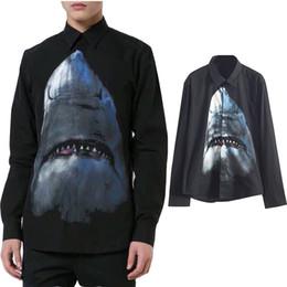 camisa causal da forma do homem Desconto 2019 Novos Homens Da Moda Camisas De Grife Preto Com Tubarão Impresso Mangas Compridas de Algodão Causal Camisas Slim Fitness