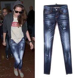 jeans ajustados cintura baja Rebajas Atractivos de las mujeres jeans ajustados Fit bajo la cintura apenada pintura Montaje de cadera bigotes efecto de atenuación de la vendimia Cool Girl