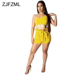 960be8f9cbfa Sexy Two Piece Outfit For Women Yellow One Shoulder Backless Crop Top+Orange  High Waist Ruffles Bodycon Shorts Summer Tracksuit