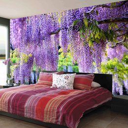 Фиолетовые обои онлайн-Пользовательские плакат печать 3D Романтический Purple Flower Vine Настенная живопись Гостиная Спальня Фото Фон Mural Decor Wallpaper