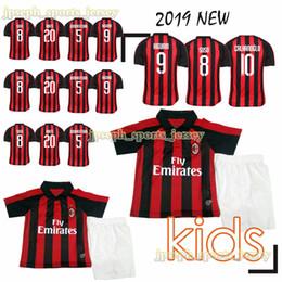 Milan jersey corto online-Camiseta de fútbol juvenil del Milan BONAVENTURA CALABRIA J.MAURI S.CASTILLEJO HIGUAIN SUSO manga corta uniformes de futbol 2019 niños