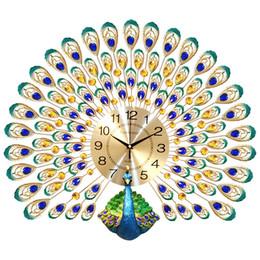 2019 часы для стен Peacock Wall Clock Living Room European Creative Clock Wall Watches Household Lucky Mute Clocks Modern Decorative Charts дешево часы для стен