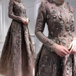 Motifs de robe de soirée en Ligne-Robe de soirée manche longue A-Line Jewel Marron Applique Ruffle Pattern Floor-Length Classique Personnalisable dans toutes les tailles Modern 1887