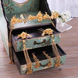 collar esmeralda de la boda fija Rebajas Novia adornos para el cabello accesorios de tocado de boda para mujeres sin caja Estilo chino Lo hermoso y digno representa