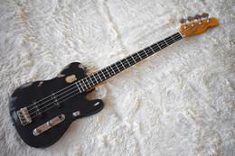 Schwarze chrom-gitarren-hardware online-Heiße Fabrik Benutzerdefinierte Mattschwarz 4 Saiten E-Bass mit Distressed Körper, Chrom Hardware, Palisander Griffbrett, SS Pickup, sein anpassen