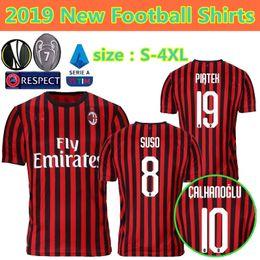 2019 magliette camouflage unisex all'ingrosso 19 20 ac Milan maglie da calcio casa 2019 2020 Europa League AC Milan Piatek PAQUETA Suso CALHANOGLU Kessie maglie da calcio divise da calcio