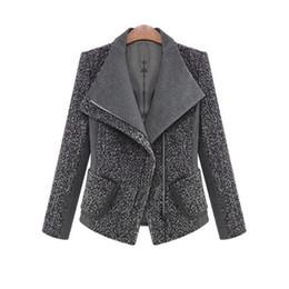 2018 mulheres outono inverno casaco jaqueta moda clássico mistura de lã lapela outwear preto cinza trabalho terno plus size casacos jaquetas de Fornecedores de casacos de lã de cashmere lã preto
