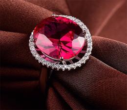 Fusíveis de prata on-line-Real 925 anel de prata esterlina Europa e América exagerada vermelho fundido alumina feminino selvagem moda jóias com diamantes
