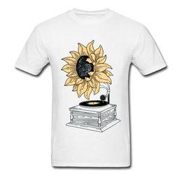 2019 girasoles de vinilo Van Gogh T-shirt Men Art Designer Tshirt Singing In The Sun Tops Sunflower Vinyl Music Tshirt Vintage Artist Street Wear Cotton girasoles de vinilo baratos