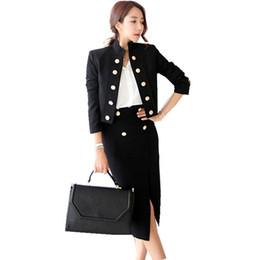 Conjunto de 2 piezas de negocios de otoño de las mujeres Blazer negro  formal Abrigo de manga larga + Falda de bodycon de trabajo de cintura alta  Conjunto de ... 70343ae2f3f4