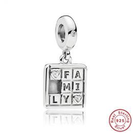 Letras del alfabeto pandora online-100% 925 plata esterlina I Love My Family Letters Monogram Beads fit Pandora Pulsera Alfabeto del cubo de Rubik regalo de Navidad