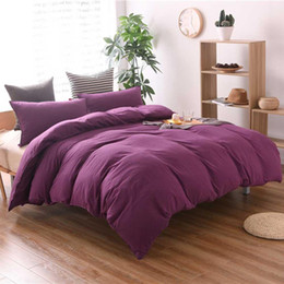 Большой наволочка онлайн-Bedding Set Washable Cotton Extra Large Duvet Quilt Cover with Pillow Case Purple Bedding Set Machine